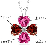 Gem Stone King 925 Sterling Silver Build Your Own Personalized 4 Birthstones Fashion Love Mothers Women's Flower Blossom Heart Shape Pendant Necklace with 18 Inch Chain