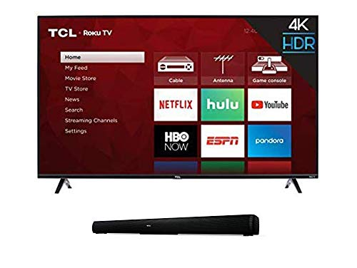"""TCL 43S425  43 Inch 4K Ultra HD Smart Roku LED TV (2018) with 5 2.0 Channel Home Theater Sound Bar - Ts5000, 32"""", Black"""
