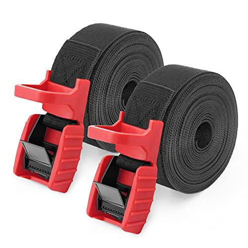 2 Piezas Cinchas de Amarre con Hebilla para Kayak,Baca Coche,Portabici,Moto,Correa Trinquete 4.5mX25mm (Negro)