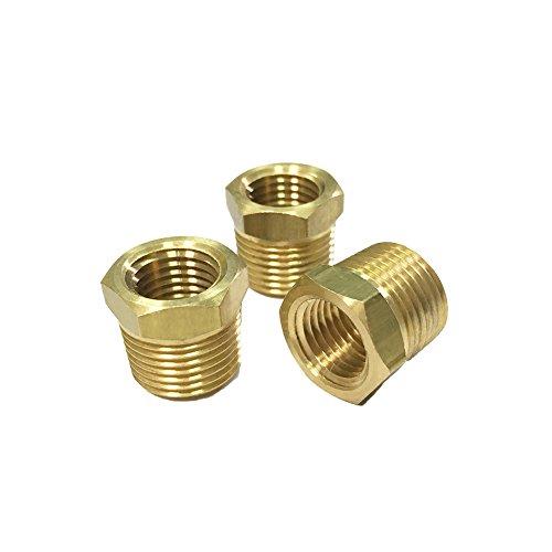 NIGO Industrial Co. Brass Pipe Fitting, Hex Bushing Reducer (3 Pack, 3/8' NPT Male x 1/4' NPT Female)