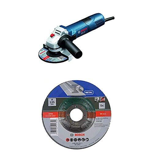 Bosch Professional Winkelschleifer GWS 7-125 (720 Watt, 125 mm, im Karton) + 5tlg. Trennscheiben-Set gekröpft für Metall