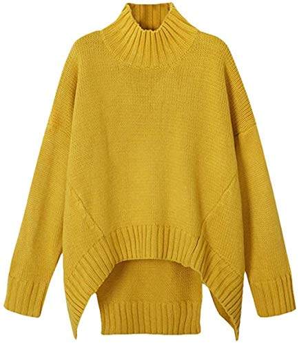 Ladies Half coltrui gebreide trui aantrekken Basic Long Stretch trui losse trui top, Gr ?? e: XXL, Kleur: Geel (Color : Gelb)