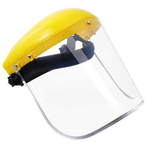 Casco de Trinquete de Protección Facial de Seguridad con Visera Transparente Pantalla Protectora para Carpintería Rectificado Soldadura Segado