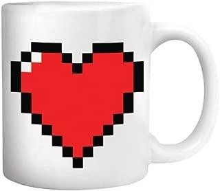 OrangeTag Magic Morning Mug Coffee Tea Milk Hot Cold Heat Sensitive Color-changing Pixel Heart Morphing Mug