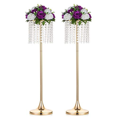 Nuptio 2 Pcs Wedding Centerpieces Vase, 80cm Height Wedding Christmas Metal Flower Vase Decorations, Road Lead for Reception Centerpiece for Table, Living Room Dining Room Halloween Party Decor