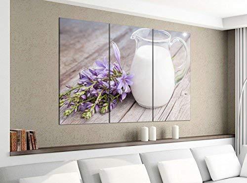 Acrylglasbilder 3 Teilig 120x100cm Milch Kanne weiß lila Blumen Holzbrett Druck Acrylbild Acrylglas Acrylbilder Wand Bild 14E1344, Acrylgröße 8:gesamt 120x100cm