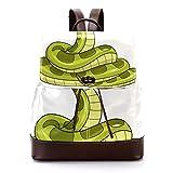 Mochila casual de piel sintética para hombre, bolsa de hombro para estudiantes para viajes, negocios, universidad, verde serpiente divertida