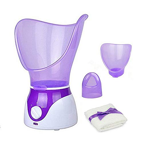 Facial Steamer Professional Steam Inhaler Facial Sauna Spa for Face Mask Moisturizer - Sinus with Aromatherapy; Pores with Timer and Extract Blackheads, Diffuser Skin Care(Purple)