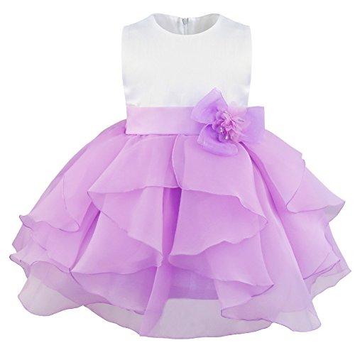 YiZYiF Baby Mädchen Kleid mit Schleife Bowknot Taufkleid Blumenmädchenkleider Hochzeit festlich Kleid Party Kleinkind Gr. 68-104 (74, Blumen Lavendel)