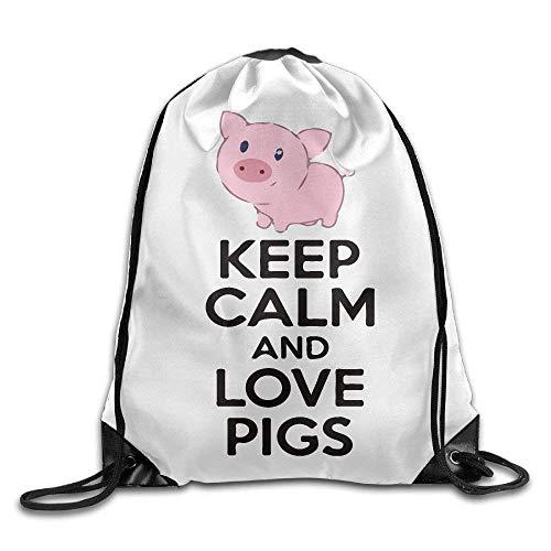 Lsjuee Keep Calm and Love Pigs Print Drawstring Backpack Rucksack Shoulder Bags Gym Bag Sport Bag