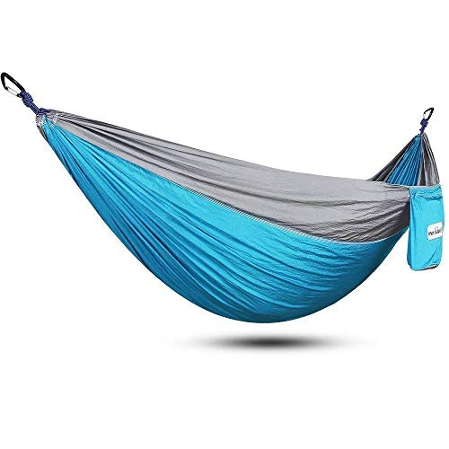 Camping hangmat Double Hangmat Parachute Doek Outdoor Hangmat Swing Geschikt for tuin Travel Camping Travel camping hangmat (Kleur: Sky blue grijs, Maat: 300x200cm)
