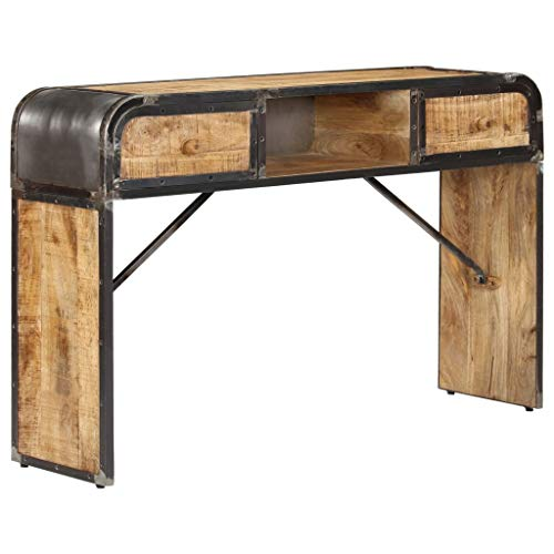 mewmewcat Buffet Industriel Armoire de Rangement Table Console 120 x 30 x 75 cm (l x P x H) avec 1 Compartiment et 2 Tiroirs en Bois de Manguier Massif