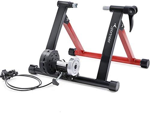 Fahrradtrainer, Sportneer Fahrrad Rollentrainer Stahl Fahrrad Übung Magnetischer Ständer mit Geräusch Reduktions Rad (SchwarRot)