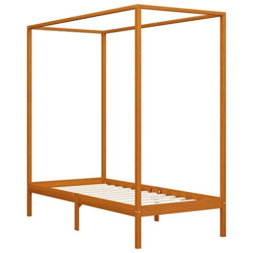 Irfora Canopy Bed Frame, Bed Frames for Adults Honey Brown Solid Pine Wood 100x200 Cm
