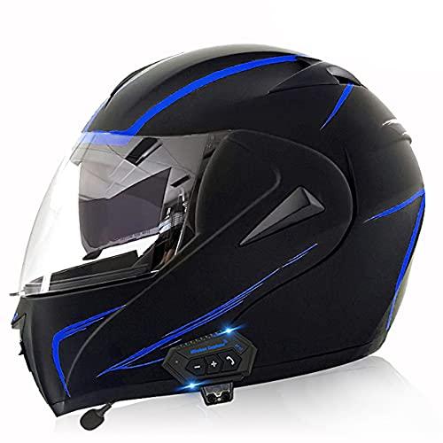 Casco Integral de Motocicleta de Antivaho Doble Visera Modular Flip Up Ligero y Fuerte Cascos de Moto Cascos Modulares para Hombre de Motocicleta Ciclomotor(Size:M(57-58CM),Color:Rayo azul-A)