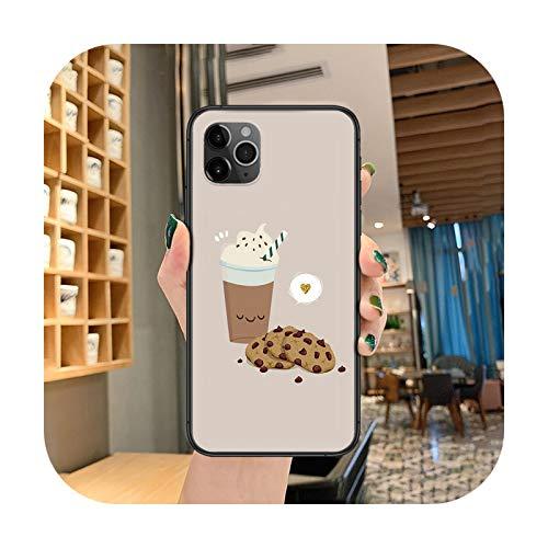 caja del teléfono del té del café de la historieta para el iphone 4 4s 5 5S SE 5C 6 6S 7 8 más X XS XR 11 12 mini Pro Max 2020 negro funda painting-7-iPhone11