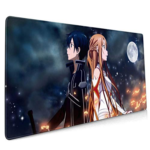 Sword Art Online Cartoon Extended Gaming Mouse Mat,DIY Custom Professional Mouse Pad (35.5x15.8In),Stitched Edges,Desk Pad Keyboard Pad Mat,Water-Resistant,Non-Slip Base,For Work & Gaming