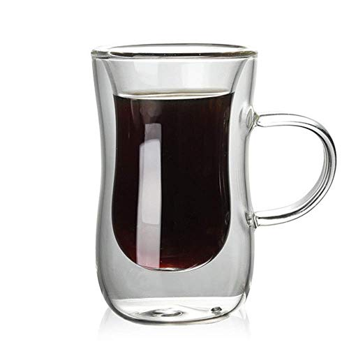WY-YAN Copa de cristal Un conjunto de seis doble pared con aislamiento con un mango con una copa de vino for beber con Home Office cristalería de vidrio transparente (color: claro, tamaño: un tamaño)
