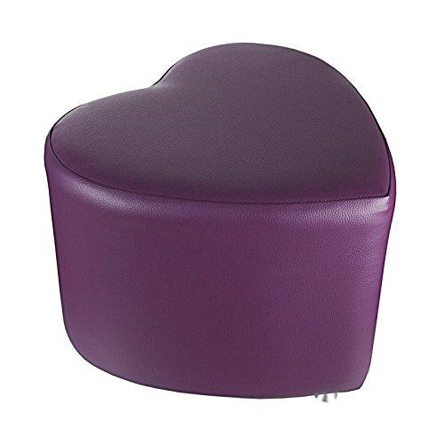 Tabouret cube avec patins en aluminium en forme de cœur Violet