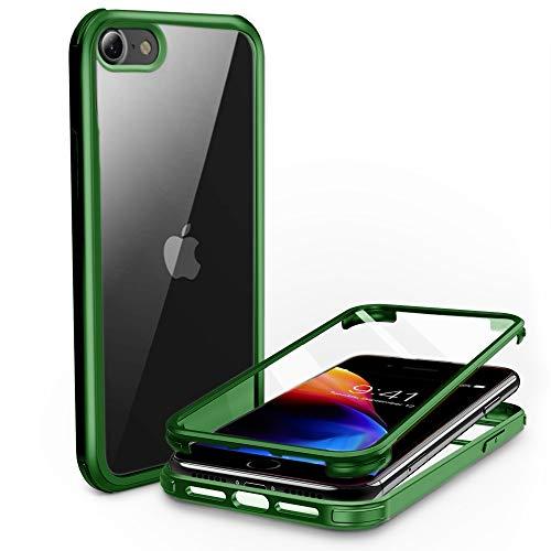 PHONEAURA Carcasa completa para iPhone delantero y trasero de 360 grados, con dos protectores de pantalla para iPhone 7/8/SE 2 (protección completa, carcasa doble) (iPhone 7/8/SE 2, verde)