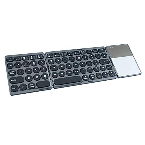Prettyia Teclado Bluetooth Plegable, Teclado Inalámbrico Portátil Plegable, Tabletas para Teléfonos Inteligentes Batería Recargable Incorporada - Gris Oscuro