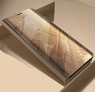 جراب هاتف واقي من نوعه - جراب هاتف واقٍ بمرآة ذكية قابلة للطي لهاتف iphone 5 5S SE 6 6S 7 8 Plus X XS 11 Pro MAX XR (ذهبي ...