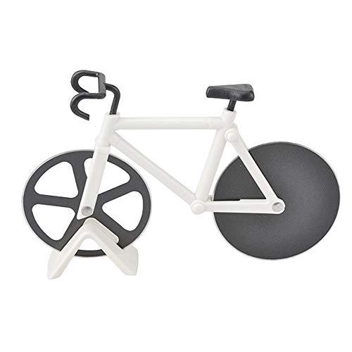 Fahrrad Pizzaschneider mit Ständer Edelstahl Klinge Küchengerät weiß