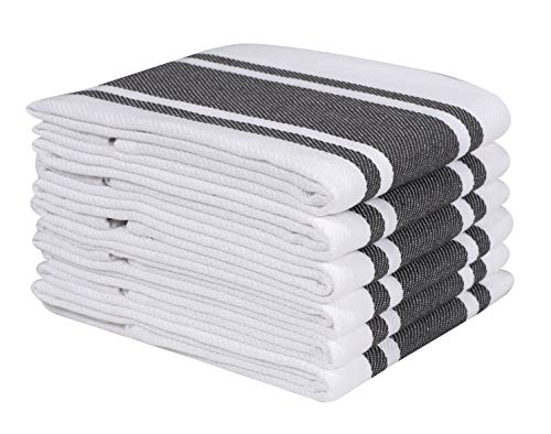Heavy Duty Oversized Kitchen Towels & Dishcloth (Set of 6 Charcoal 18x28) Highly Absorbent, Professional Grade Cotton Tea Towels for Everyday Cooking and Baking- Modern Clean Striped Pattern