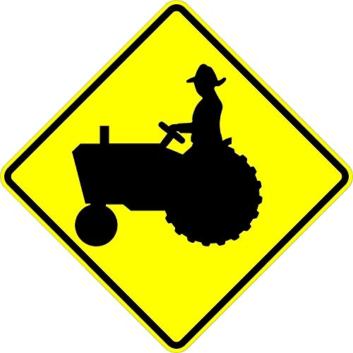 Tractor Crossing Sign - 24 x 24 Warning Sign. A Real Sign. 10 Year 3M Warranty.