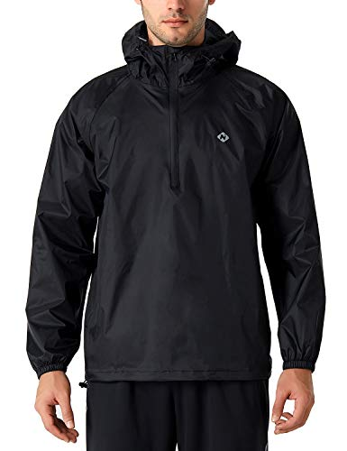 Naviskin Men's Waterproof Rain Jacket Packable Outdoor Hooded Raincoat Poncho Black Size L