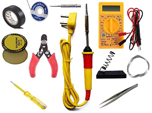 Eskon (11 in 1) 25W Soldering Kit including Soldering Iron, Soldering Wire (1.5m), Flux, Iron Stand, Pointed Bit, Cutter, D-wick, Tester, Tweezer, Digital Meter and Tape
