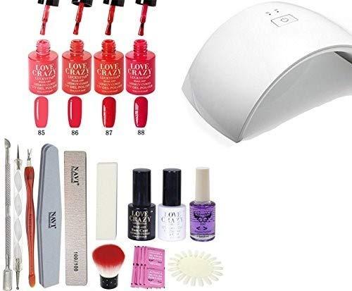 LoveCrazy 4pcs Kit De Colores 85-88 en Gel Manicura Semipermanente + TopCoat y BaseCoat UV LED Manicura Arte + Lámpara Secador 9C de Uñas UV/LED + Removedores + Lima + otros productos (9C KIT 85-88)