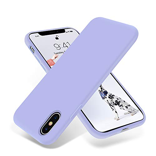 OTOFLY Liquid Silicone Gel Rubber Full Body Protection Shockproof Case for iPhone Xs/iPhone X,Anti-Scratch&Fingerprint Basic-Cases,Compatible with iPhone X/iPhone Xs 5.8 inch (2018), (Light Purple)