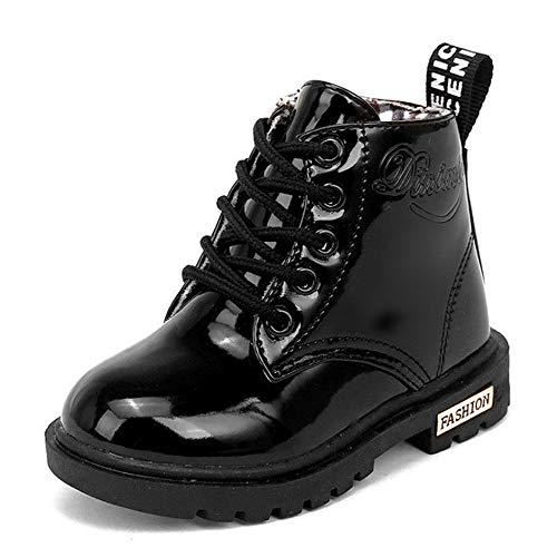 Mooyii Kinder schnürstiefel Mädchen Stil Armee-Boot Stiefel warme Schuhe einfarbig Schuhe Lackleder Winter weich einzigartig Stiefel Schnürschuh komfortabel schick Kinderschuhe