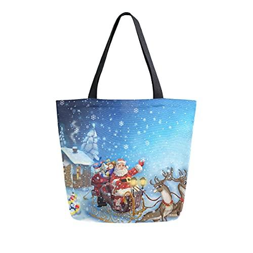 AHYLCL Elch Santa Schneeflocke Schlitten Tragetasche Segeltuch Schultertasche Wiederverwendbare Große Mehrzweck-Handtasche für Arbeit Schule Shopping Outdoor