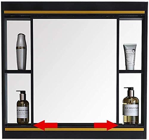 LAMTON Gabinete de Espejo Deslizante gabinete de Pared de Cocina gabinete de baño polivalente Medicina de Almacenamiento Organizador con Espejo (Color : Negro, tamaño : 60 * 70cm)