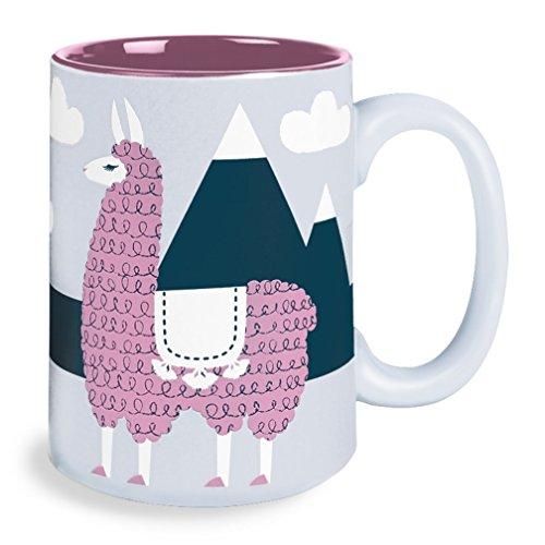 Kitsch'n Glam Grey Llama in the Alps 16 Oz Ceramic Coffee Mug,Gray