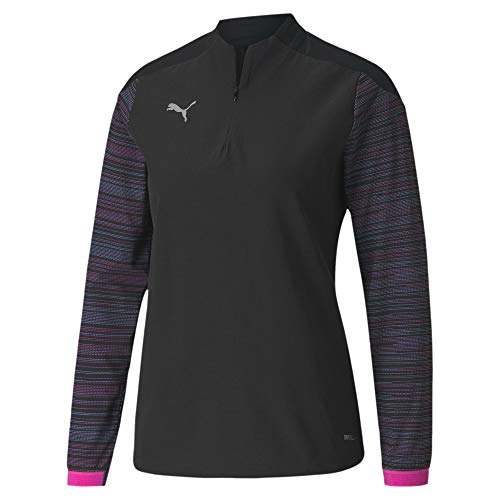PUMA Ftblnxt 1/4 Zip Top W Sudadera, Mujer, Black/Blue Glimmer/Luminous Pink, L