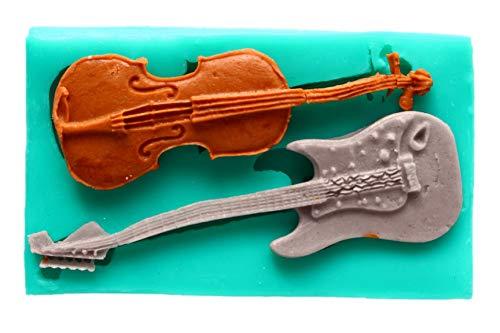 Silikonform Gitarre Guitar Geige Violine Musikinstrument Backform Seifenform Torte Tortendekor Kuchendekoration Kuchen Backzubehör Dekorieren Basteln Verzierung Schmücken Deko-Werkzeug Randdeko Silicon Mold Blütenpaste Zuckermasse Paste Gips Knete Gießform Neu