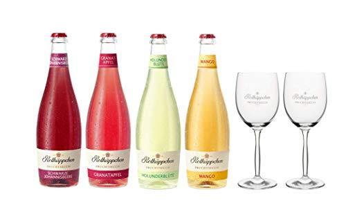 Rotkäppchen Fruchtsecco Mix Set – Schwarze Johannisbeere, Granatapfel, Holunderblüte und Mango mit 2 Fruchtsecco-Gläsern (4 x 0,75l + 2 Gläser)
