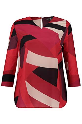 Ulla Popken Damen 3/Arm, grafischer Druck Bluse, Mehrfarbig (Multicolor 90), (Herstellergröße: 42+)
