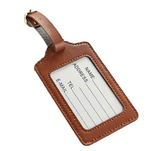 Kofferanhänger Reisetasche Koffer-namensschilder Premium-pu-Leder-kofferanhänger Datenschutz Reisetasche Labels Koffer Schlagwörter 1pc Brown