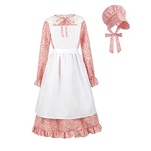 NUOQI Girls Pioneer Colonial Dress Prairie Pilgrim Costume Dresses American Historical Costume Halloween Red 4-5Y