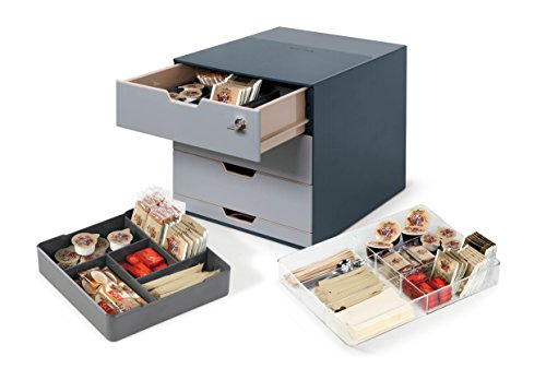 Durable 338558 Coffee Point Box Aufbewahrungsbox (für Kaffee/Tee, Cateringbox, Kaffeestation/Büroküche) anthrazit