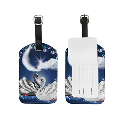 shenguang 2PCS Leather Watercolor Wolf Ethnic Dream Catcher Luggage Tags Travel Baggage Labels Bag Tag
