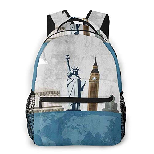 Lawenp Travel Famous World Landmarks Icons Casual Backpack For School Outdoor Travel Big Student Fashion Bag