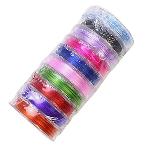 VVXXMO 10 rollos de cuerda de cristal de 150 metros,Pulsera elástica,Cuentas de cordón, Multicolor, talla única