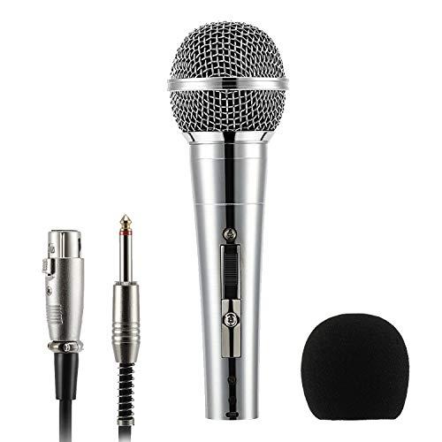 Moukey Dynamisches Mikrofon, Mikrofon für Karaoke Mehrzweck Metall Handmikrofon MWm-3 mit 5M/16.40ft XLR-Kabel für Karaoke, Singen, Hochzeit, Bühne, Party und Podcast
