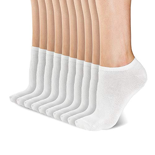b.o.c. Performance No Show Ankle Socks Size 9-11, White, 10 Pack