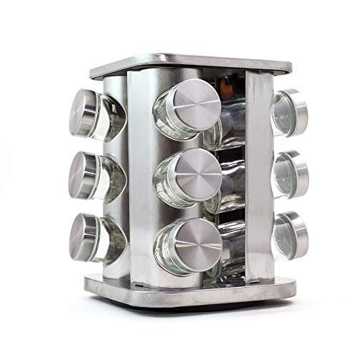 NATURAL LOGISTICS Especiero Cocina Giratorio Acero Inoxidable (12 Botes). Organizador Cocina con Botes Especias Incluidos. Estantería Metálica para Accesorios, Botes de Cocina. Kottao